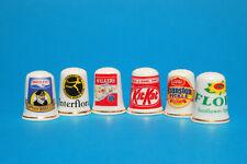 Set of 6 Assorted Advert China Thimbles No.2 B/143