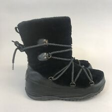 FitFlop Mukluk Superblizz 39 US8 UK6 Black Leather Ankle Faux Fur Lace Up Boots