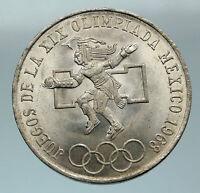 1968 Mexico XIX Olympic Games Aztec Ball Player BIG 25 Pesos Silver Coin i84593