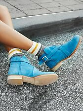 New Free People Las Palmas Blue Suede Buckle Strap Ankle Boots Sz 7.5/8/38