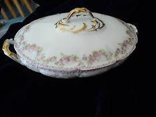 #716 antique OVAL COVERED Serving Bowl PINK  FLOWERS CH FIELD Haviland Limoges