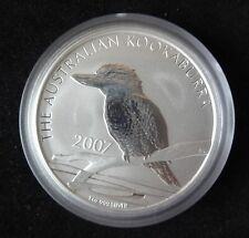 1OZ 2007 Fina Plata Australia $1 moneda Kookaburra.