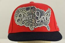 New York USA Paisley Bling Rhinestone Red Cap Hat Baseball
