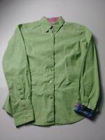 Robert Graham Womens Shirt Size 2 Green Paisley Long Sleeve Flip Cuff Button Up