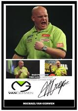 035. MICHAEL VAN GERWEN  DARTS  SIGNED  REPRODUCTION PRINT SIZE A4