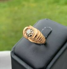 Bague ancienne Or 18k 750 et Diamant Antique gold ring 1950 Art Deco TANK