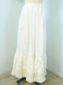 Antique 1880s-1890s Ivory Victorian Lingerie Lace Petticoat Prairie XXS
