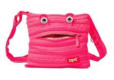 Zip-It Monster Mini Shoulder Bag Purse Case Kids Teen One SuperZipper Neon Pink