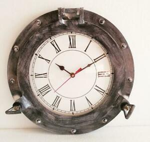 Black Antique Marine Brass Ship Nautical Porthole Clock Nautical Wall Clock Hom