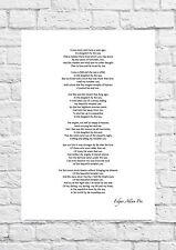Edgar Allen Poe - Annabel Lee - Inspirational Poem - A4 Size