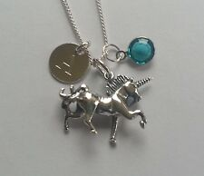 Sterling Silver 3D Personalised Unicorn Pendant Necklace Initial Birthstone
