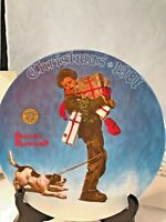 "Bradford Exchange Plate ""Wrapped up in Christmas"" , Norman Rockwell NIB"