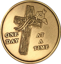 Cross One Day At A Time Bronze Medallion Serenity Prayer Sobriety Chip AA NA