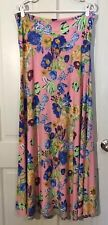 Lularoe Women's Size Large Pink Floral Maxi Skirt Floor Length Career