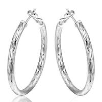 NEW Stunning Women Girls 925 Sterling Silver Filled 43mm Round Hoop Earrings