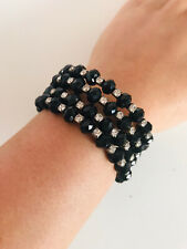 Black Bead Diamante Stretch Cuff Chunky Statement Bangle Bracelet Elegant Party