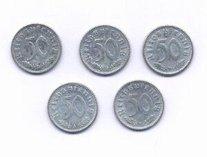 GERMANY  THIRD REICH  50 REICHSPFENNIG COINS: 1939-F, 1940-B-D, 1941-A, & 1942-F