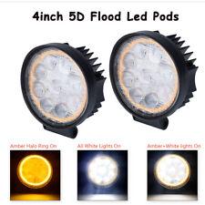 2x Round 4inch LED Work Light Pods Offroad Amber Fog Driving SUV Bike 4X4 Flood