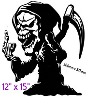 "GRIM REAPER  Car/Van/ caravan/ boat Sticker decal Large 12""x15"""