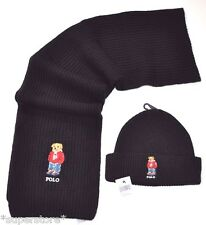 NEW RALPH LAUREN POLO BEAR Winter BEANIE HAT + SCARF Men's Set Ski GIFT Black