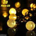 20 LED Solar Crystal Ball Fairy String Lights Xmas Outdoor Garden Party Decor