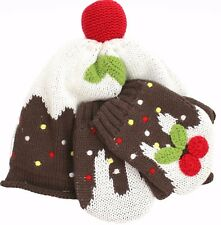 JOHN LEWIS Baby Girl HAT + MITTENS Warm Soft  CHRISTMAS PUDDING 6-12 mths