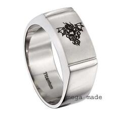 Titanium Ring Engraving Flying Dragon Wedding Band Engagement Men Jewely Sz 8.5