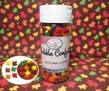 Autumn Leaves  Edible Confetti Sprinkles 2.2 oz. Cupcakes Cookies Halloween