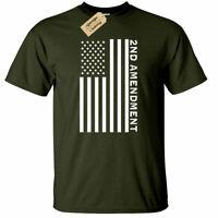 Second 2nd Amendment American Flag T Shirt Patriotic Gun Rights Tee mens