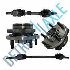 Front Driver and Passenger CV Axle Shafts + 2 Wheel Hub Bearings FWD