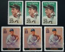 LOU GEHRIG Lot of 6 US Baseball Unused Postage Stamps NY NEW YORK YANKEES Legend