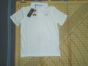 YOUTH LARGE WHITE UNDER ARMOUR POLO SHIRT - NWT