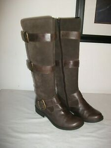 STUNNING CLARKS BROWN LEATHER AND SUEDE RIDING STYLE BOOTS SZ 4 UK EXCELLENT