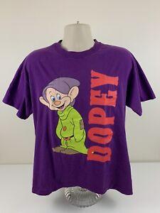 VTG 90s Dopey Snow White Disney Purple T Shirt Mens Size Large Single Stitch EUC