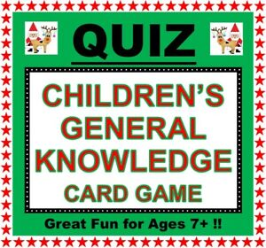 CHILDREN'S 'GENERAL KNOWLEDGE' Card Quiz Game Party Fun Families/Friends