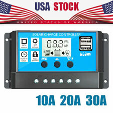 10A/20A/30A LCD 12V/24V Solar Panel Regulator Charge Controller Battery Dual USB