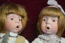 """2 perfect  boy & girl porcelain (but body)10""""Tall dolls w stand, clothes, detail"""