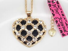 Betsey Johnson Cute inlay Crystal hollow love heart Pendant Necklace # B183