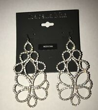 "Isabella Mia Bling Silver Crystal/Cluster Drop Earrings 3"" New"