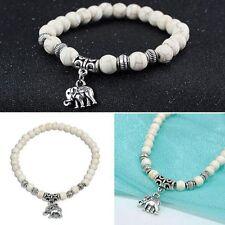 Tibet silver elephant Pendant White turquoise beads 6mm Elastic bracelet Pop