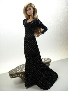 Black & Silver Velour Gown Handmade by KK Fits Fashion Royalty, FR2, NuFace