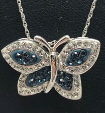 "Sterling Silver 925 Enamel Sapphire CZ Halo Cluster Butterfly Wings Necklace 18"""