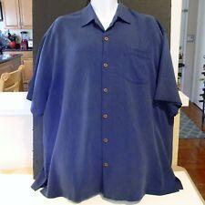 EUC Tommy Bahama Men's S/S Button Down Shirt 100%  Silk Blue Color Size XLX/TGT
