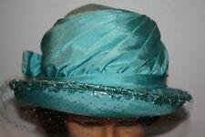 Vintage Ladies Clouch Hat Blue Short Net Bow