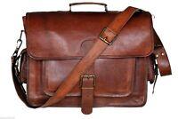 """16""""Genuine Vintage Leather Messenger Bag Shoulder Laptop Bag Briefcase Men's"""