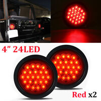 "2x 4"" Round Sealed 24-LED Red Stop Turn Tail Brake Light For Truck Trailer Bus"