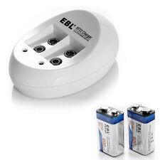 2x EBL 600mAh 6F22 9V Li-ion 9 Volt Lithium-ion Rechargeable Battery + Charger