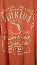 NWT Womens Florida Sunshine State T-Shirt Tallahassee established 1845 Coral