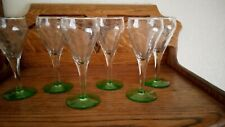 Set of 6 Champagne Flutes with Green Base
