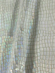 White Iridescent Sparkle Alligator Leather Cowhide Accessory Bag Craft Wallet